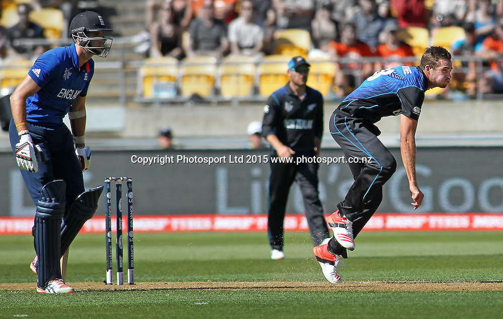 Tim Southee bowls during the ICC Cricket World Cup match between New Zealand and England at Wellington Regional Stadium, New Zealand. Friday 20th February 2015. Photo.: Grant Down / www.photosport.co.nz