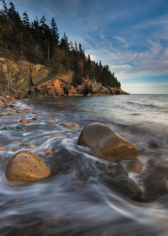 Sunset at Hunter's Beach in Acadia National Park, Maine. ( 2 stop grad ND, polarizer)