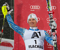 21.12.2011, Hermann Maier Weltcup Strecke, Flachau, AUT, FIS Weltcup Ski Alpin, Herren, Slalom Podium, im Bild Andre Myhrer (SWE/ Rang 2) // second place Andre Myhrer of Sweden on Podium Slalom of FIS Ski Alpine World Cup at Hermann Maier Pist in Flachau, Austria on 2011/12/21. EXPA Pictures © 2011, PhotoCredit: EXPA/ Johann Groder
