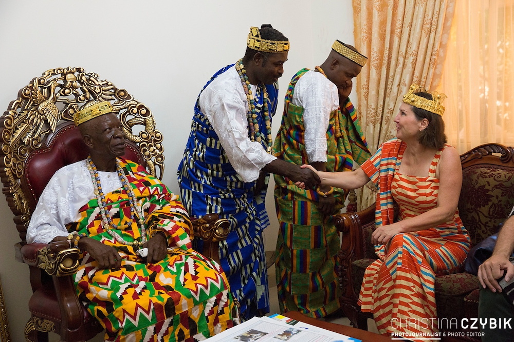 King Cephas Bansah and Queen Gabriele Bansah along with Dr. Susi Dattenberg-Doyle (Queen Mother od Gbi Kpoeta Ghana) with her husband Tom Doyle greeted by Ewefiaga Togbui Agboli K.F. Agokoli IV (King of the Ewe) in his home<br /> <br /> Day 2 of the Agbogboza Festival in Notse, Togo on September 2nd, 2016<br /> <br /> ***Togbe Ngoryifia Cephas Kosi Bansah of Gbi Traditional Area Hohoe Ghana and Traditional, Spiritual and Honorable King of the Ewes and his wife, Queen Mother Gabriele Akosua Bansah Ahado Hohoe Ghana***