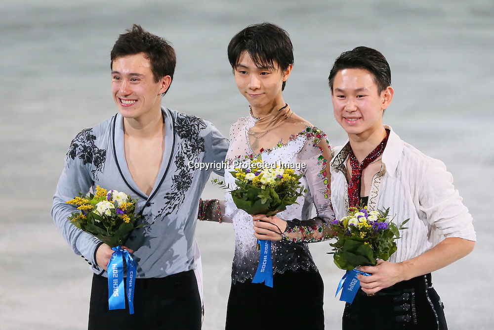 "(L to R) <br /> Patrick Chan (CAN), <br /> Yuzuru Hanyu (JPN), <br /> Denis Ten (KAZ), <br /> FEBRUARY 14, 2014 - Figure Skating : <br /> Men's Free Skating <br /> at ""ICEBERG"" Skating Palace <br /> during the Sochi 2014 Olympic Winter Games in Sochi, Russia. <br /> (Photo by YUTAKA/AFLO SPORT) [1040]"