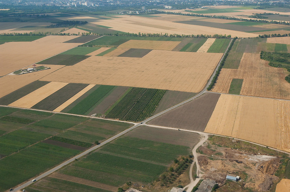 Aerial view of cultivated fields north west of Moldova