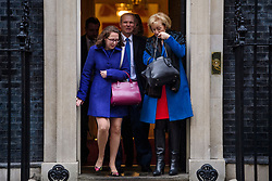© Licensed to London News Pictures. 08/03/2017. London, UK. BARONESS EVANS BOWES PARK (L), DAVID LIDINGTON (C) and Minister of State at the Department of Energy and Climate Change ANDREA LEADSOM (R) leave Downing Street following a cabinet meeting before British chancellor Philip Hammond delivers his 2017 Budget to Parliament. Photo credit: Ben Cawthra/LNP