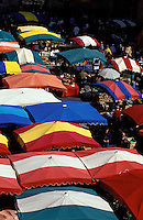 market at Cahors, France: colorful canvas umbrellas seen from above