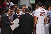 November 14, 2014; Stanford, CA, USA; Stanford Cardinal head coach Johnny Dawkins instructs his team in a huddle during the first half against the Wofford Terriers at Maples Pavilion.
