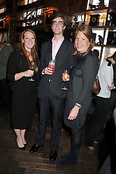 Left to right, TOR INSKIP, TOM FABER and SARAH CURTIS at a party to celebrate the launch Mr Fogg's, 15 Bruton Lane, London W1 on 21st May 2013.
