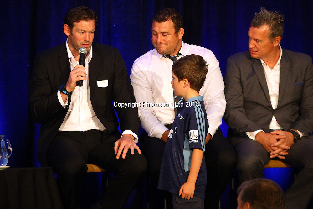 Tom Donnelly answers questions from young fan Harrison Willis, Blues Super rugby franchise 2014 Squad Announcement Breakfast, Eden Park, Auckland. 30 October 2013. Photo: William Booth/www.photosport.co.nz