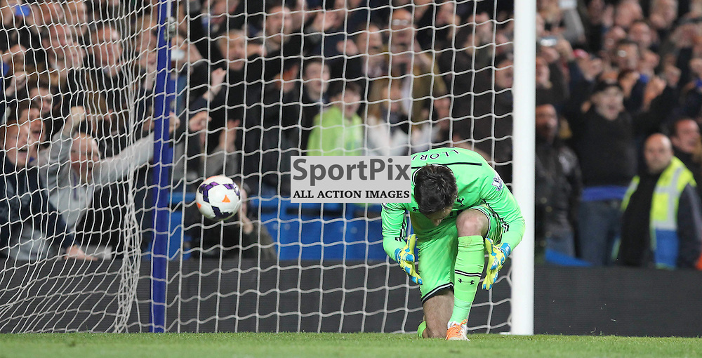 Tottenham's Goalkeeper Hugo Lloris sees the ball go past him and penalty scored by Chelsea's Eden Hazard during the English Barclays Premiership match between Chelsea FC and Tottenham Hotspur FC at Stamford Bridge, London, 8th March 2014 © Phil Duncan | SportPix.org.uk