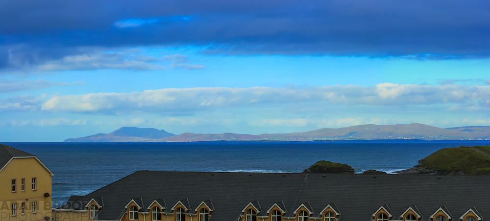 View from our hotel window in Bundoran overlooking Donegal Bay. The rugged South-West Donegal mountains can be seen in the distance, including Slieve League, with St. John's Point visible in the middle foreground.<br />
