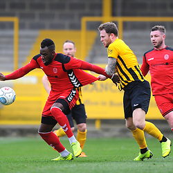 TELFORD COPYRIGHT MIKE SHERIDAN 2/3/2019 - Amari Morgan Smith of AFC Telford is dragged back during the National League North fixture between Boston United and AFC Telford United at the York Street Jakemans Stadium