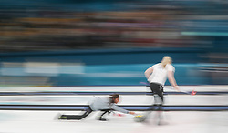Great Britain's Eve Muirhead during the Women's Round Robin Session 1 match against Olympic Athletes from Russia at the Gangneung Curling Centre on day five of the PyeongChang 2018 Winter Olympic Games in South Korea.