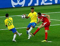 Silva Thiago (Brazil) tackles on Nemanja Matic (Serbia) shooting<br /> Moscow 27-06-2018 Football FIFA World Cup Russia  2018 <br /> Serbia - Brazil / Serbia - Brasile<br /> Foto Matteo Ciambelli/Insidefoto