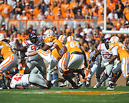 Tennessee quarterback Tyler Bray (8) is tackled by Ole Miss linebacker D.T. Shackelford (42) in a college football game at Neyland Stadium in Knoxville, Tenn. on Saturday, November 13, 2010. Tennessee won 52-14.