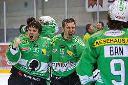 Pierre Svensson and Andreas Beiter of  EHC Bregenzerwald celebrates during 5th game of final INL league ice hockey match between HK Playboy Slavija and EHC Bregenwald at Dvorana Zalog, on April 3, 2013, in Ljubljana, Slovenia. (Photo by Matic Klansek Velej / Sportida)