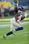 Seattle Seahawks running back J.D. McKissic (14) returns a kick during the 2017 NFL week 1 preseason football game against the against the Los Angeles Chargers, Sunday, Aug. 13, 2017 in Carson, Calif. The Seahawks won the game 48-17. (©Paul Anthony Spinelli)