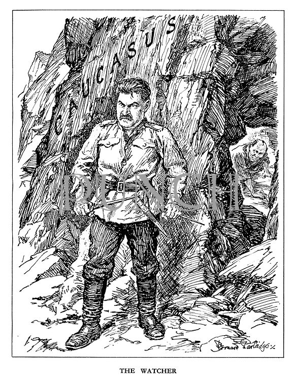 The Watcher. (an angry Stalin waits at the Caucasus with knives while Japan approaches from behind)