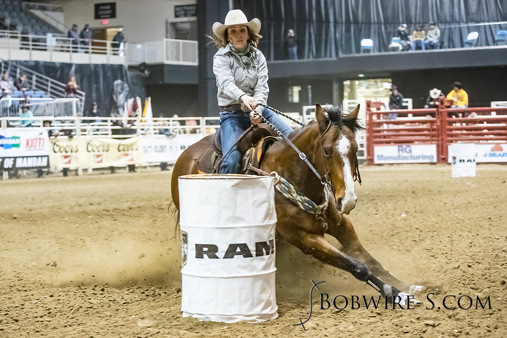 Barrel racer Rudie Hepper makes her run during slack at the Bismarck Rodeo on Saturday, Feb. 3, 2018. She had a time of 15.24 seconds. This photo and more from most runs are available at Bobwire-S.com.