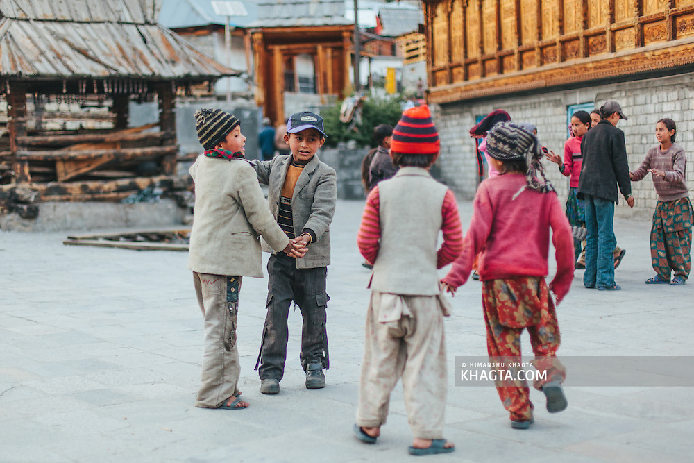 Kids of Chitkul village playing at the temple complex