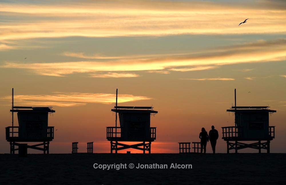 Lifeguard Towers on winter hiatus, Venice Beach<br /> photo by Jonathan Alcorn with Samsung