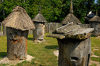 Stock photo of an Ancient Ukrainian apiary yard with wooden beehives countryside scenic Ukraine Pirogovo