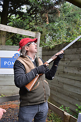 Jonathan Merrick at Young Guns raising money for the fight against breast cancer trough Cancer Research UK held at EJ Churchill Shooting School followed by lunch at West Wycombe Park, England. 23 September 2017.
