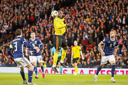 Romelu Lukaku (Inter Milan) rises for a header but just  cannot get enough on it to direct it towards goal during the UEFA European 2020 Qualifier match between Scotland and Belgium at Hampden Park, Glasgow, United Kingdom on 9 September 2019.