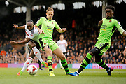 Fulham midfielder Neeskens Kebano (7) has a shot on goal during the EFL Sky Bet Championship match between Fulham and Wolverhampton Wanderers at Craven Cottage, London, England on 18 March 2017. Photo by Andy Walter.
