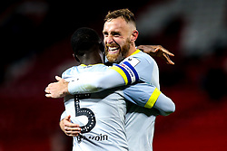 Richard Keogh of Derby County celebrates with Fikayo Tomori of Derby County after helping beat Manchester United - Mandatory by-line: Robbie Stephenson/JMP - 25/09/2018 - FOOTBALL - Old Trafford - Manchester, England - Manchester United v Derby County - Carabao Cup
