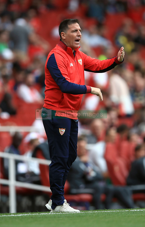 Sevilla manager Eduardo Berizzo gestures on the touchline during the Emirates Cup match at the Emirates Stadium, London.