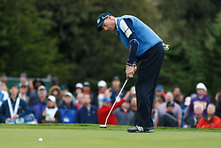 Feb 11, 2012; Pebble Beach CA, USA;  Jim Furyk puts for birdie on the third hole during the third round of the AT&T Pebble Beach Pro-Am at Pebble Beach Golf Links. Mandatory Credit: Jason O. Watson-US PRESSWIRE