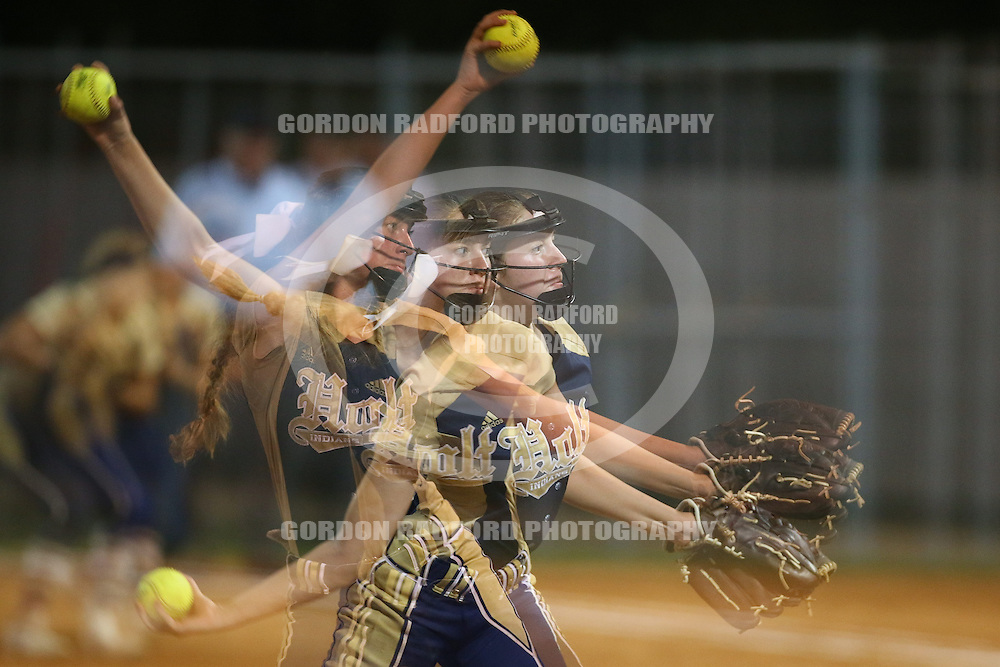 Holt senior Sydney Hansen delivers a pitch in the fourth inning during a softball game on Tuesday, Sept. 20, 2016 at the Ballwin Athletic Assoication in Ballwin, Mo.  Gordon Radford | Special to STLhighschoolsports.com