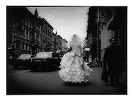 Bride on Smolny street, St. Petersburg, Russia.