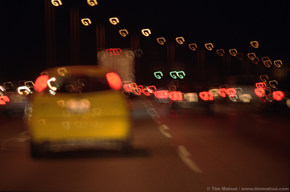 Nighttime traffic on highway.