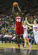 February 16 2011: Wisconsin Badgers forward Anya Covington (40) pulls in a rebound during the first half of an NCAA women's college basketball game at Carver-Hawkeye Arena in Iowa City, Iowa on February 16, 2011. Iowa defeated Wisconsin 59-44.
