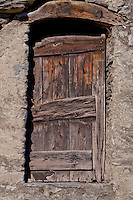 Old wooden door in Loco in the Valle Onsernone in Southern Switzerland.