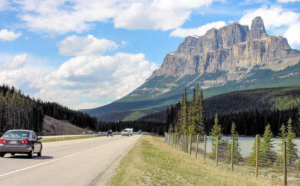 Castle Mountain, along Trans Canada Highway. Alberta, Canada.