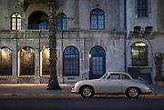 Image of a 1958 Porsche 356 Silver Cabriolet automobile, Riverside, California, America west coast
