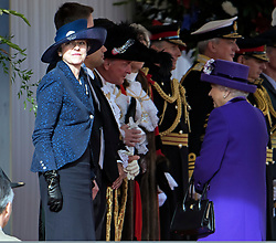 © Licensed to London News Pictures. 23/10/2018. London, UK. British Prime Minister THERESA MAY (left) and HRH QUEEN ELIZABETH II attend a ceremony on Horse Guards Parade in London for the arrival of King Willem-Alexander and Queen Maxima of the Netherlands as part of a state visit to the UK. Photo credit: Ben Cawthra/LNP