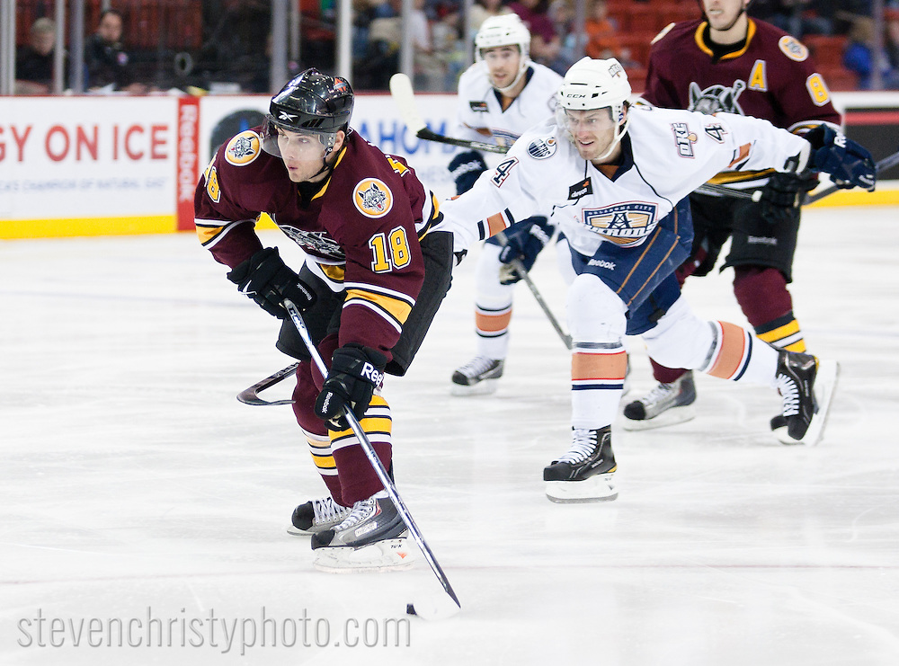 January 26, 2011: The Oklahoma City Barons play the Chicago Wolves in an American Hockey League game at the Cox Convention Center in Oklahoma City.
