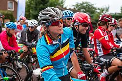 Rider of National Team Belgium waiting for the start at the Holland Ladies Tour, Zeddam, Gelderland, The Netherlands, 1 September 2015.<br /> Photo: Pim Nijland / PelotonPhotos.com