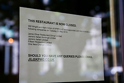 © Licensed to London News Pictures. 21/05/2019. London, UK. Notice on the window at Jamie's Italian in Islington, north London as Jamie Oliver's chain restaurants goes into administration leaving more than 1,000 jobs at risk. The administration is handled by KPMG as per the notice dated 21 May 2019. <br /> <br /> Photo credit: Dinendra Haria/LNP
