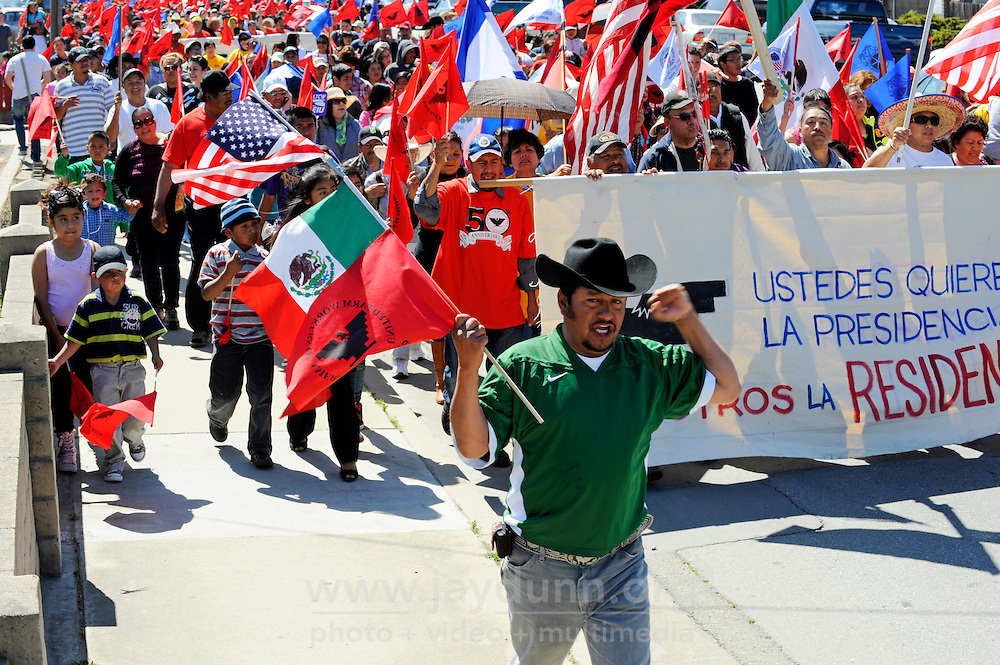 Workers, community leaders and and concerned citizens marched for four miles through East Salinas on Sunday in a demonstration organized by the United Farm Workers in support of comprehensive immigration reform.