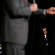 A US Secret Service Agent looks out as President Bush speaks about the ongoing war on terror Wednesday, March 22, 2006, in Wheeling, West Virginia (WV)...Photo by Khue Bui