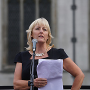 London,England,UK : 27th June 2016 : Speaker Jenny Formby of Unite addresses the crowd KeepCorbyn protest against coup and Build our movement  at Parliament Square, London,UK. photo by See Li