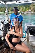 Woman scuba diving, Garden Island Resort, Taveuni, Fiji