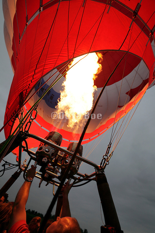 intense burning flame of a hot air balloon