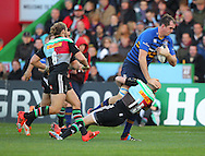 Mike Brown ( R ) of Harlequins tackles Tom Denton of Leinster during the European Rugby Champions Cup match at Twickenham Stoop , London<br /> Picture by Paul Terry/Focus Images Ltd +44 7545 642257<br /> 07/12/2014