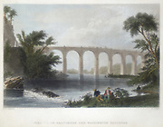 Viaduct on the Baltimore & Washington Railroad (c1838) Engraving after picture by William Henry Bartlett (1809-1854) who visited the US in the 1830s. From Charles Tomlinson 'Cyclopaedia of Useful Arts', London 1866.