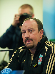 MADRID, SPAIN - Tuesday, October 21, 2008: Liverpool's manager Rafael Benitez during a press conference at the Vicente Calderon ahead of the UEFA Champions League Group D match against Club Atletico de Madrid. (Photo by David Rawcliffe/Propaganda)