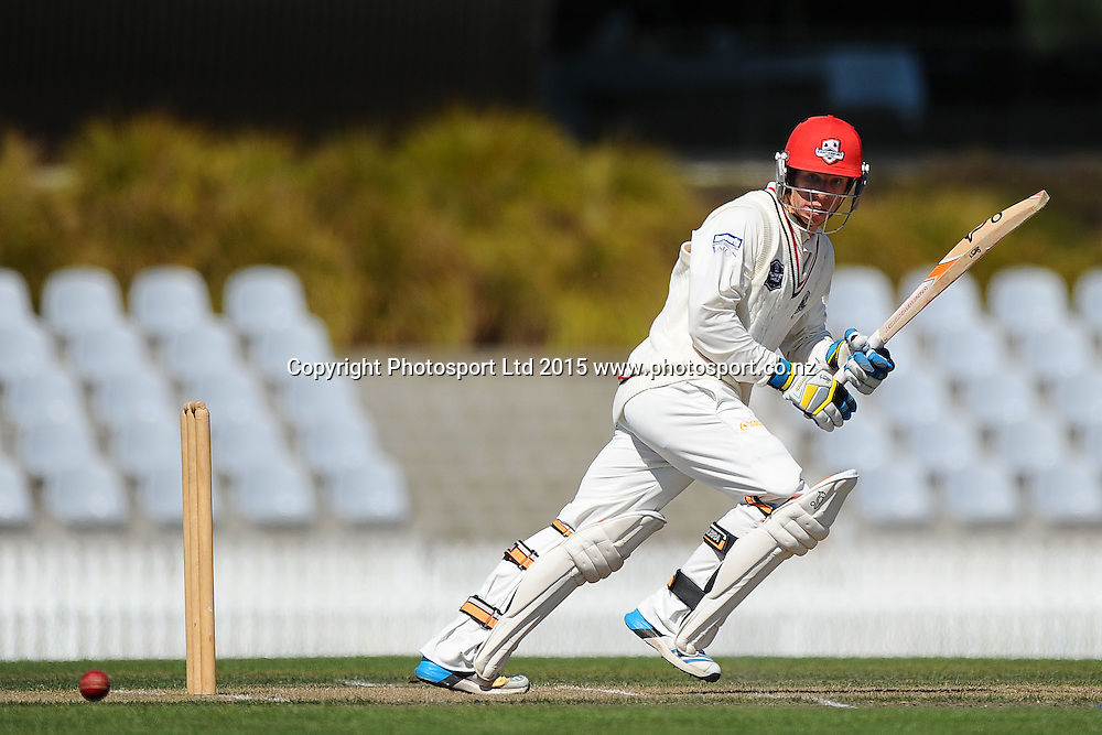 Canterbury player Leo Carter during their Plunket Shield match Central Stags v Canterbury at Saxton Oval, Nelson, New Zealand. Thursday 19 March 2015. Copyright Photo: Chris Symes / www.photosport.co.nz